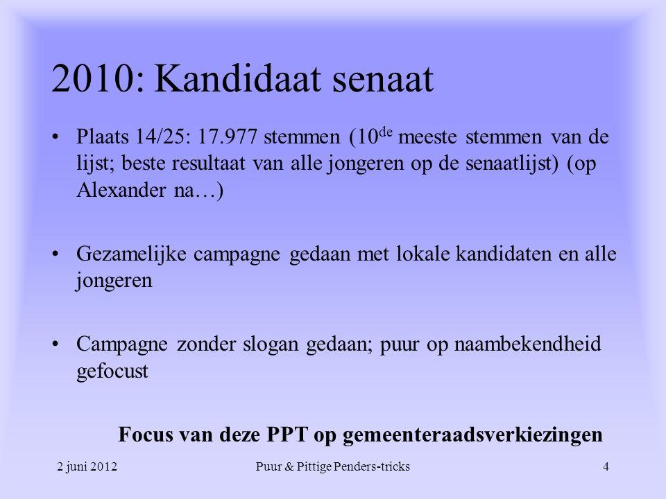 2 juni 2012Puur & Pittige Penders-tricks4 2010: Kandidaat senaat Plaats 14/25: 17.977 stemmen (10 de meeste stemmen van de lijst; beste resultaat van