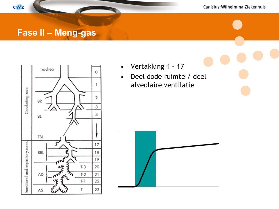 Vertakking 4 – 17 Deel dode ruimte / deel alveolaire ventilatie Fase II – Meng-gas