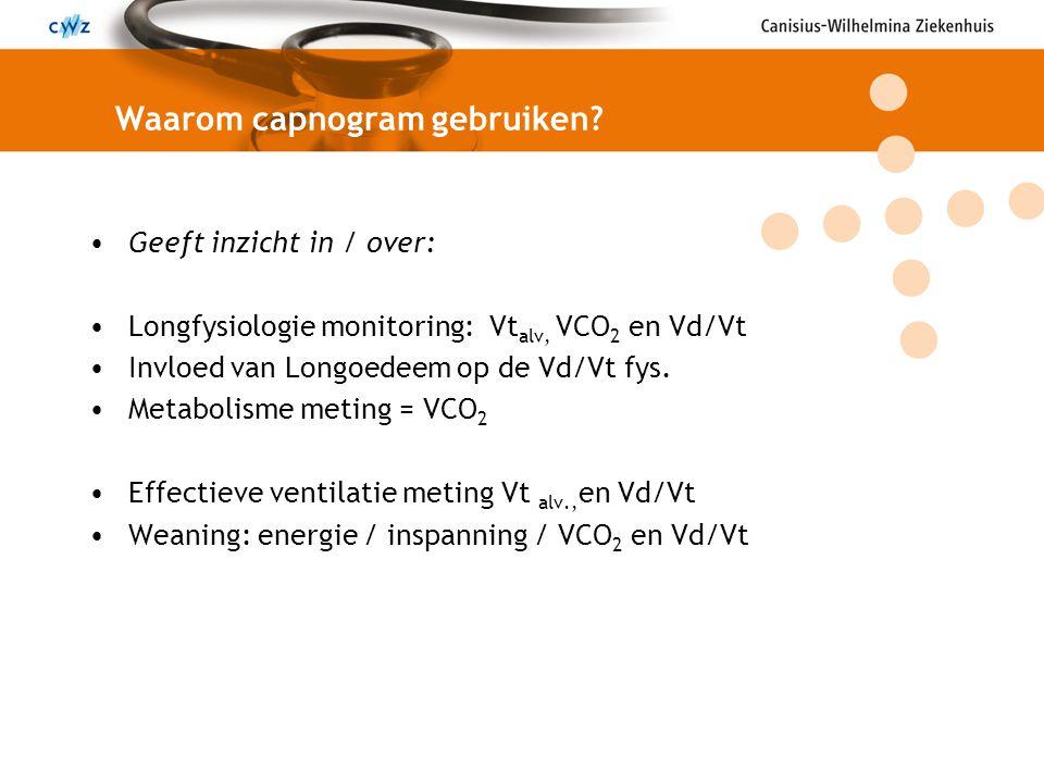 Geeft inzicht in / over: Longfysiologie monitoring: Vt alv, VCO 2 en Vd/Vt Invloed van Longoedeem op de Vd/Vt fys. Metabolisme meting = VCO 2 Effectie
