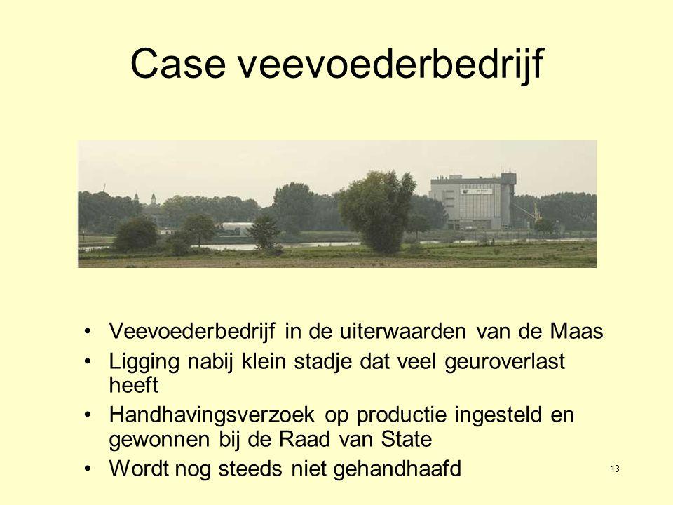 13 Case veevoederbedrijf Veevoederbedrijf in de uiterwaarden van de Maas Ligging nabij klein stadje dat veel geuroverlast heeft Handhavingsverzoek op productie ingesteld en gewonnen bij de Raad van State Wordt nog steeds niet gehandhaafd