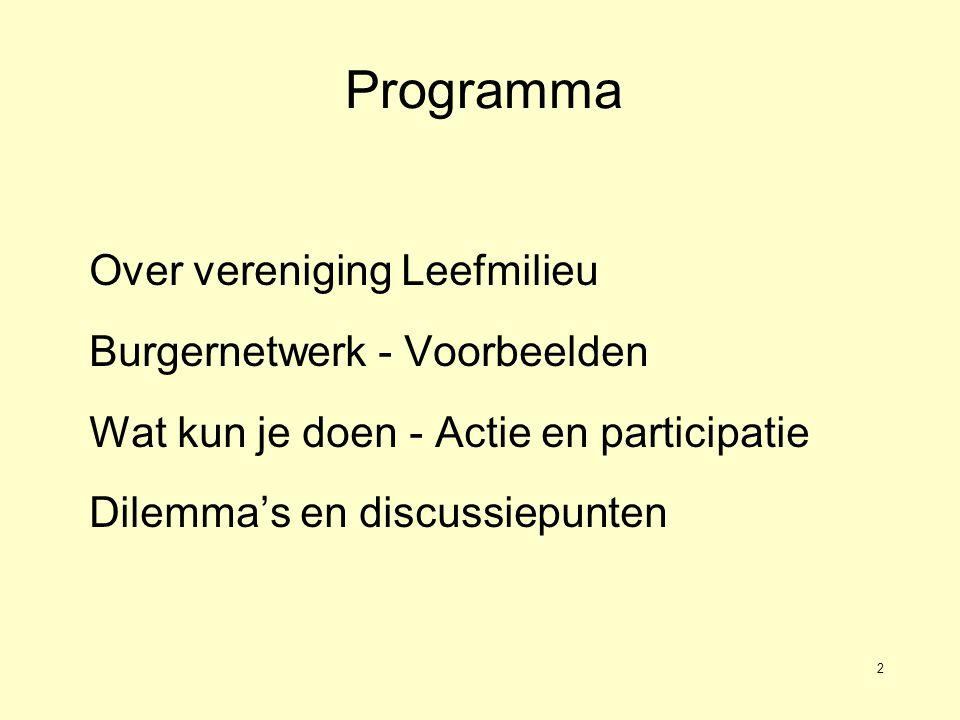 2 Programma Over vereniging Leefmilieu Burgernetwerk - Voorbeelden Wat kun je doen - Actie en participatie Dilemma's en discussiepunten