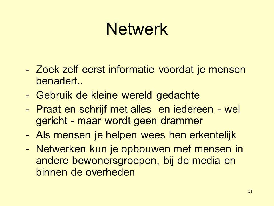 21 Netwerk -Zoek zelf eerst informatie voordat je mensen benadert..