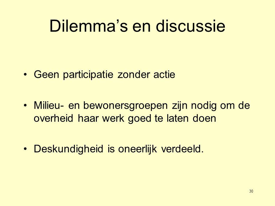 30 Dilemma's en discussie Geen participatie zonder actie Milieu- en bewonersgroepen zijn nodig om de overheid haar werk goed te laten doen Deskundigheid is oneerlijk verdeeld.