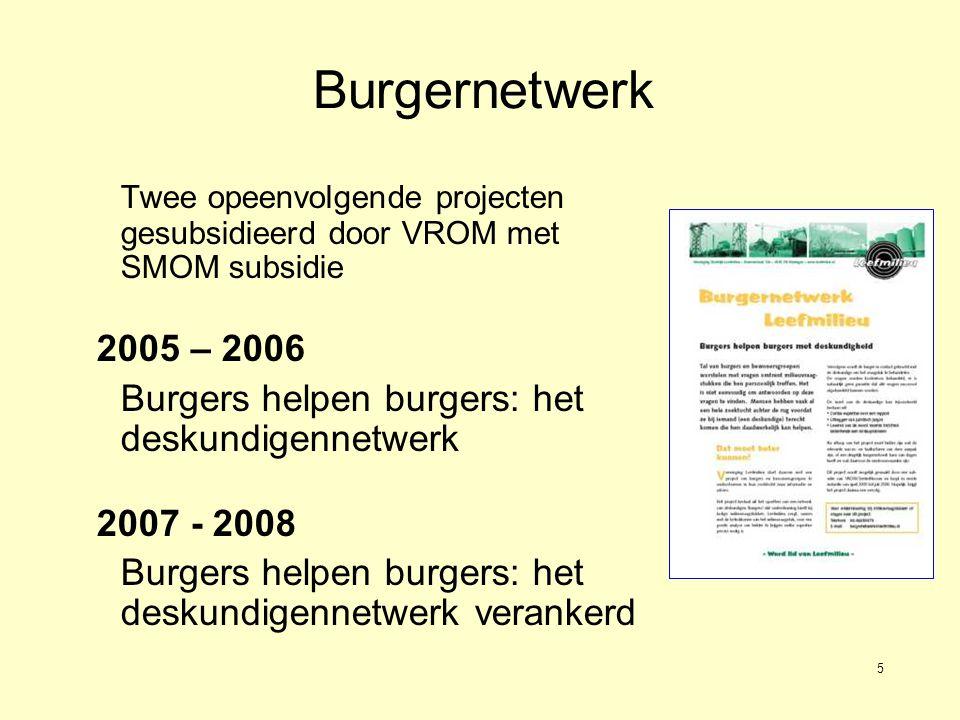 5 Burgernetwerk Twee opeenvolgende projecten gesubsidieerd door VROM met SMOM subsidie 2005 – 2006 Burgers helpen burgers: het deskundigennetwerk 2007 - 2008 Burgers helpen burgers: het deskundigennetwerk verankerd