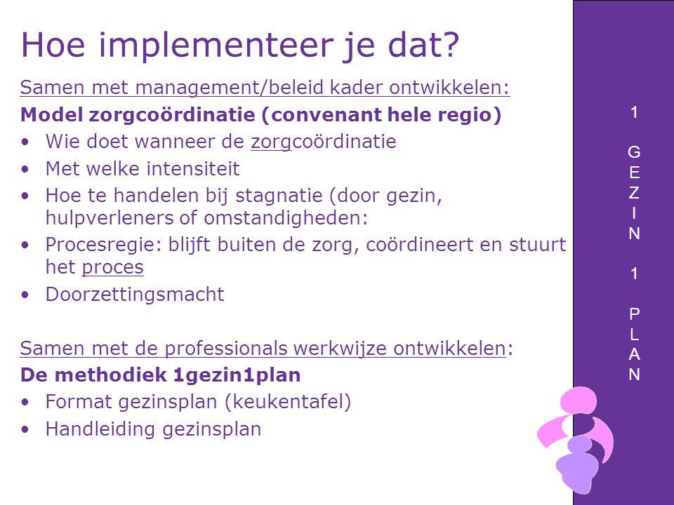 1GEZIN1PLAN1GEZIN1PLAN Hoe implementeer je dat? Samen met management/beleid kader ontwikkelen: Model zorgcoördinatie (convenant hele regio) Wie doet w