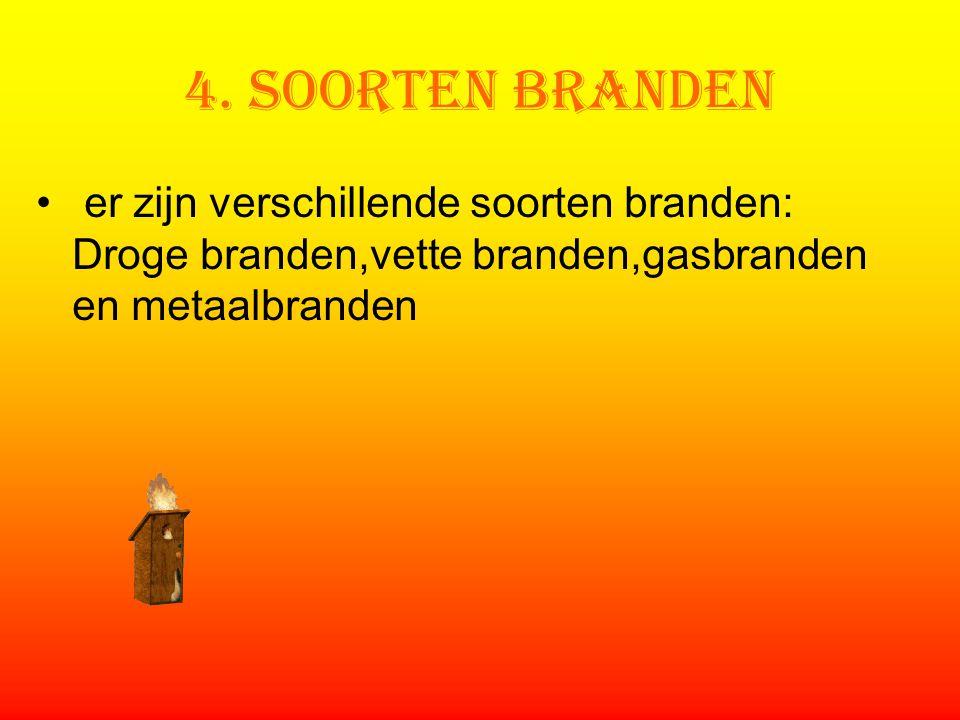 4. Soorten branden er zijn verschillende soorten branden: Droge branden,vette branden,gasbranden en metaalbranden