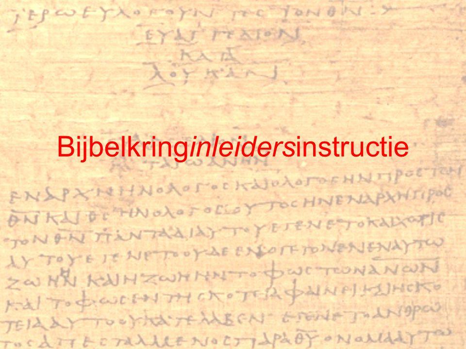 Bijbelkringinleidersinstructie