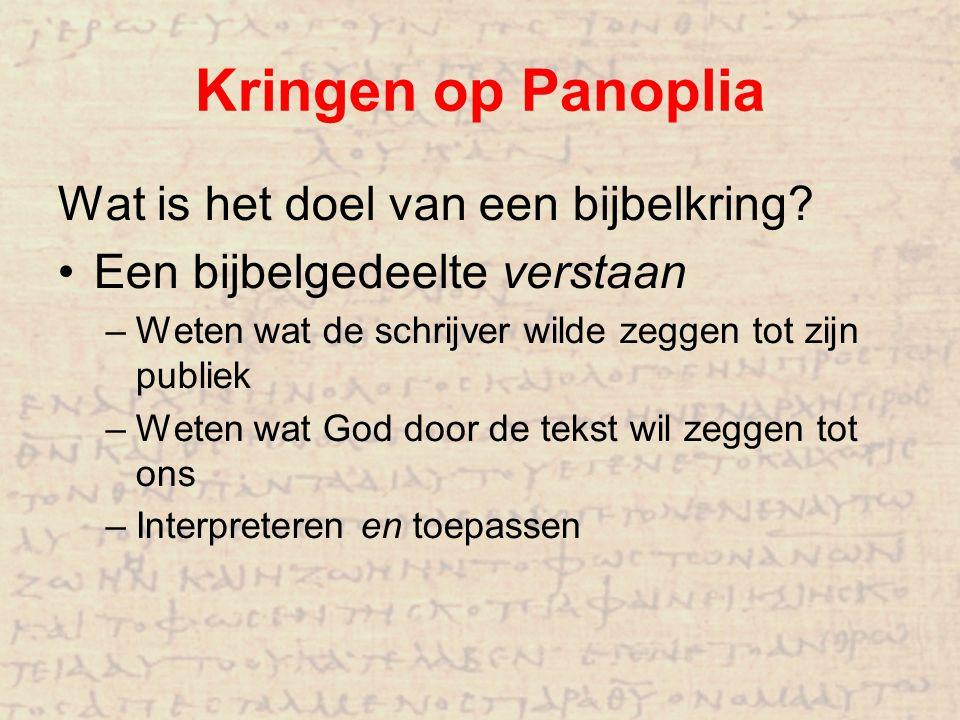 Kringen op Panoplia Wat is het doel van een bijbelkring? Een bijbelgedeelte verstaan – Weten wat de schrijver wilde zeggen tot zijn publiek – Weten wa