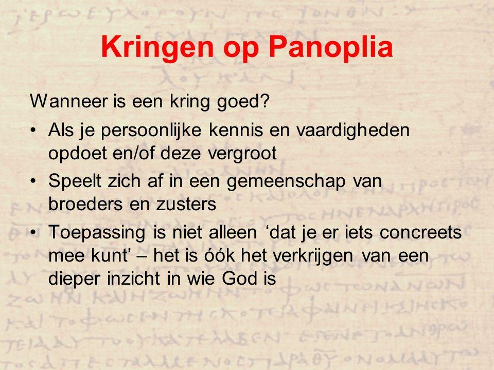 Kringen op Panoplia Wanneer is een kring goed? Als je persoonlijke kennis en vaardigheden opdoet en/of deze vergroot Speelt zich af in een gemeenschap
