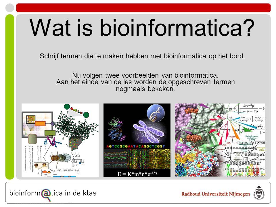 Wat is bioinformatica? Schrijf termen die te maken hebben met bioinformatica op het bord. Nu volgen twee voorbeelden van bioinformatica. Aan het einde