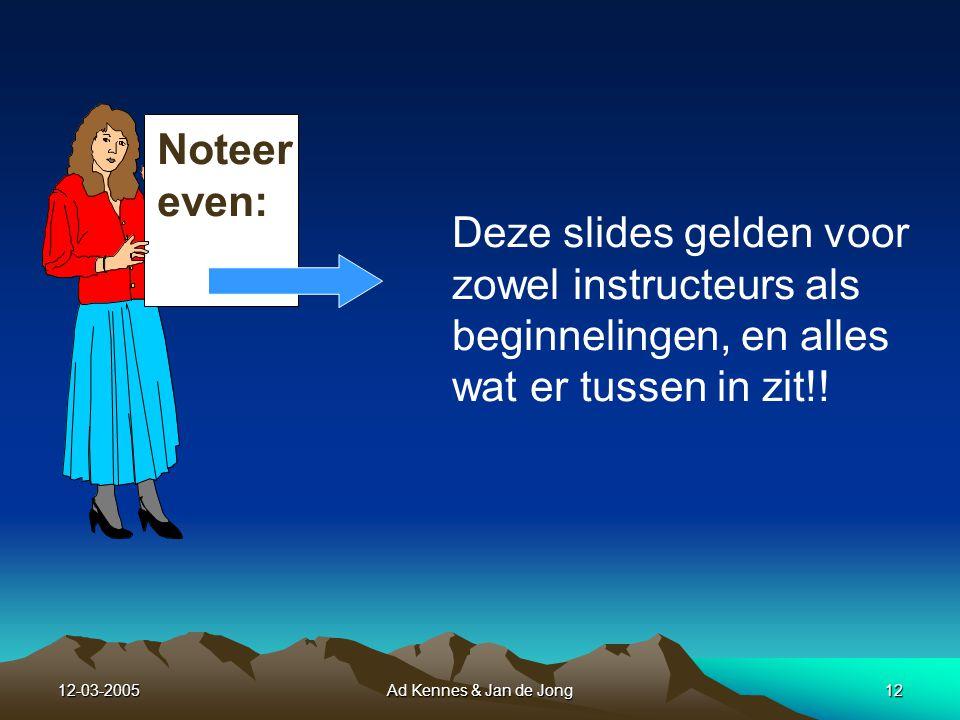 12-03-2005Ad Kennes & Jan de Jong11 En ook naar mogelijke veiligheids- netten voor enkele van het dozijn...