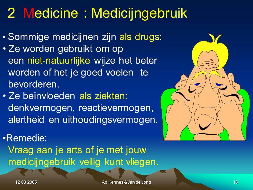 12-03-2005Ad Kennes & Jan de Jong14 Punten van belang bij ziekten: Ziekten kunnen een belangrijke invloed hebben op denkvermogen, reactievermogen, alertheid en uithoudingsvermogen.