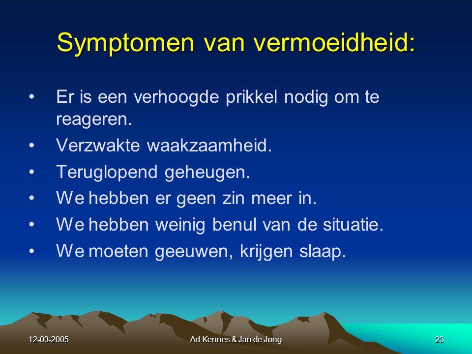 12-03-2005Ad Kennes & Jan de Jong22 Oorzaken van vermoeidheid: Oorzaken van vermoeidheid: Lange vluchtduur.