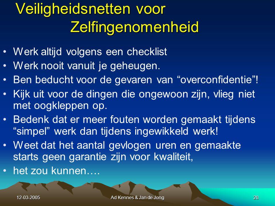 12-03-2005Ad Kennes & Jan de Jong27 8 Gebrek aan zelfkennis Gebrek aan zelfkennis kan leiden tot: A.