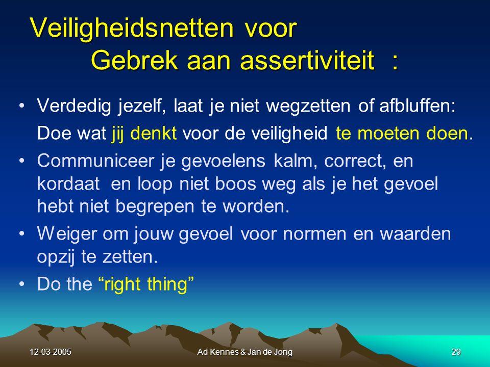 12-03-2005Ad Kennes & Jan de Jong28 Veiligheidsnetten voor Zelfingenomenheid Veiligheidsnetten voor Zelfingenomenheid Werk altijd volgens een checklist Werk nooit vanuit je geheugen.