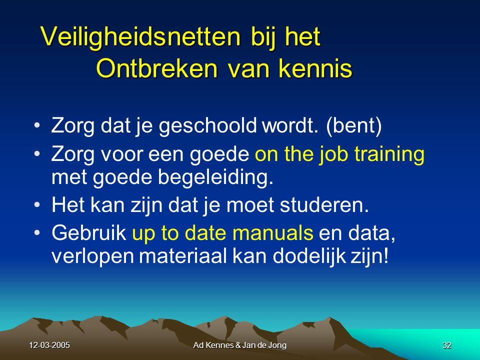 12-03-2005Ad Kennes & Jan de Jong31 10 Gebrek aan kennis en resources en ook het gebrek aan training en ervaring kan hiertoe gerekend worden Kennis
