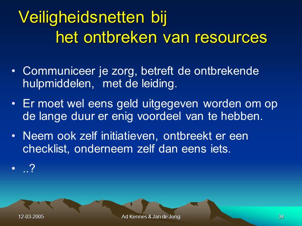 12-03-2005Ad Kennes & Jan de Jong33 Resources = hulp- of redmiddelen De juiste middelen, gereedschappen, boekwerken e.d.