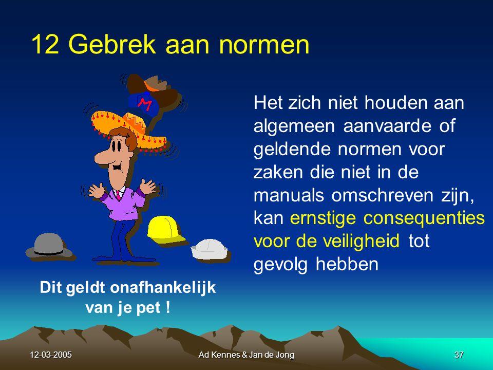12-03-2005Ad Kennes & Jan de Jong36 Veiligheidsnetten bij Gebrek aan teamwork Bespreek en plan altijd de WIE-, WAT-, WANNEER- en HOE vraag van het werk wat gedaan moet worden.