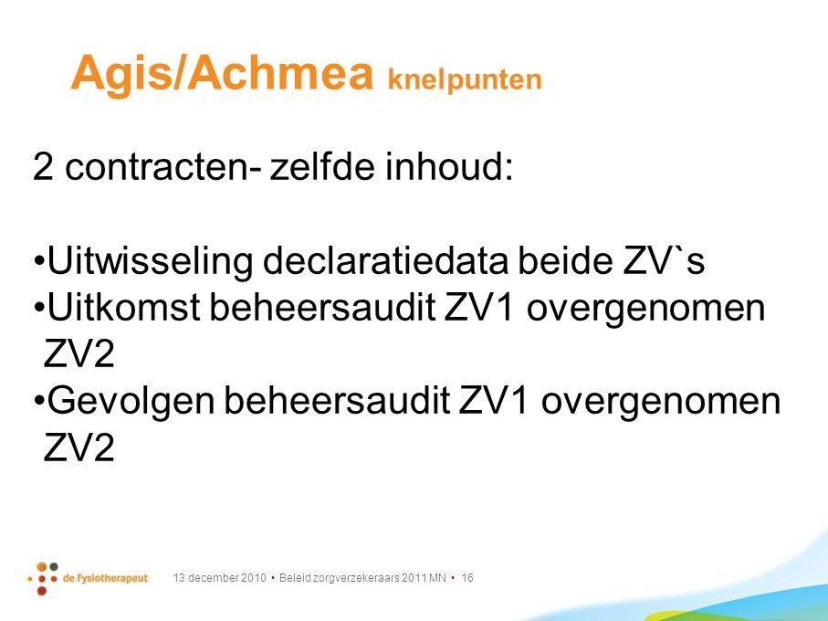 13 december 2010 Beleid zorgverzekeraars 2011 MN 16 Agis/Achmea knelpunten 2 contracten- zelfde inhoud: Uitwisseling declaratiedata beide ZV`s Uitkoms