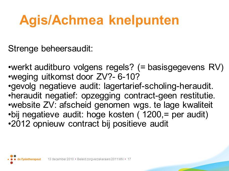 13 december 2010 Beleid zorgverzekeraars 2011 MN 17 Agis/Achmea knelpunten Strenge beheersaudit: werkt auditburo volgens regels? (= basisgegevens RV)