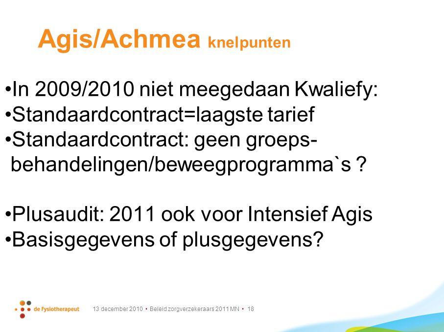 13 december 2010 Beleid zorgverzekeraars 2011 MN 18 Agis/Achmea knelpunten In 2009/2010 niet meegedaan Kwaliefy: Standaardcontract=laagste tarief Stan