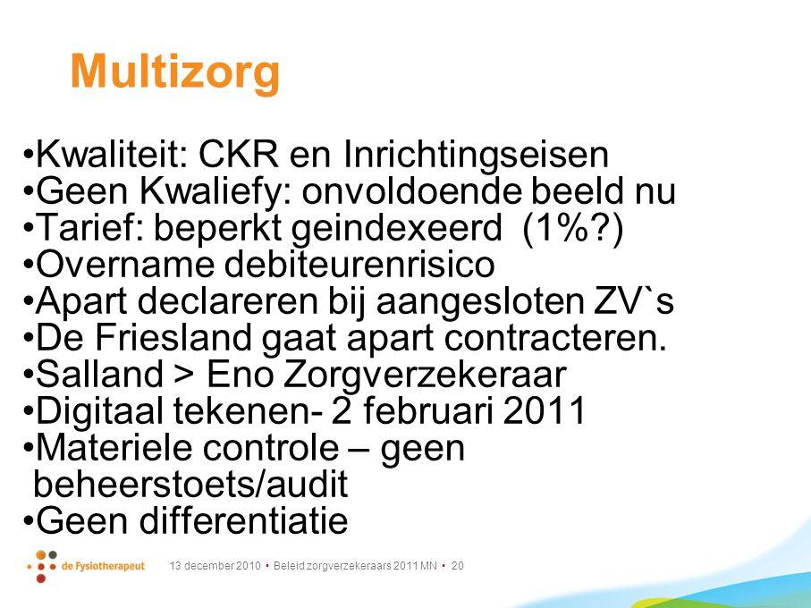 13 december 2010 Beleid zorgverzekeraars 2011 MN 20 Multizorg Kwaliteit: CKR en Inrichtingseisen Geen Kwaliefy: onvoldoende beeld nu Tarief: beperkt g