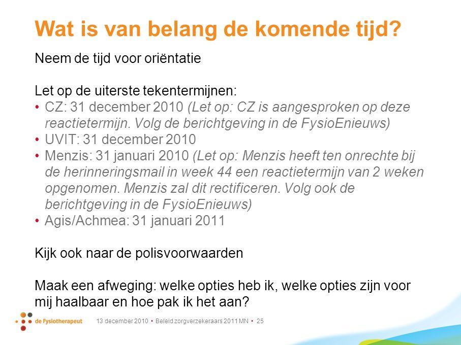 13 december 2010 Beleid zorgverzekeraars 2011 MN 25 Wat is van belang de komende tijd? Neem de tijd voor oriëntatie Let op de uiterste tekentermijnen: