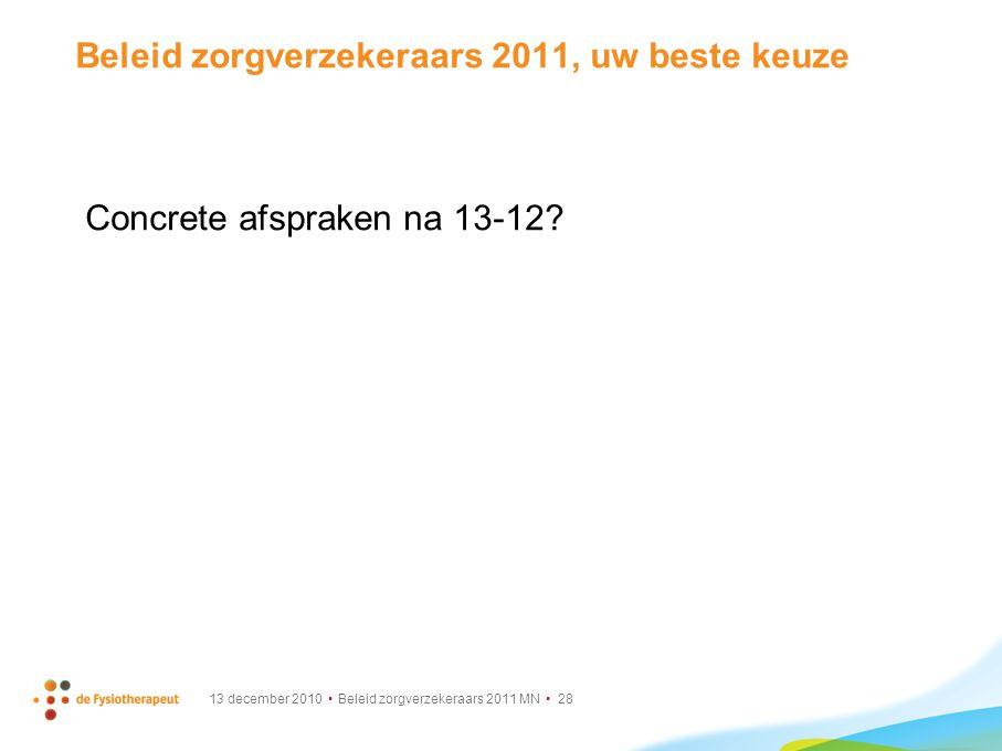 13 december 2010 Beleid zorgverzekeraars 2011 MN 28 Beleid zorgverzekeraars 2011, uw beste keuze Concrete afspraken na 13-12?