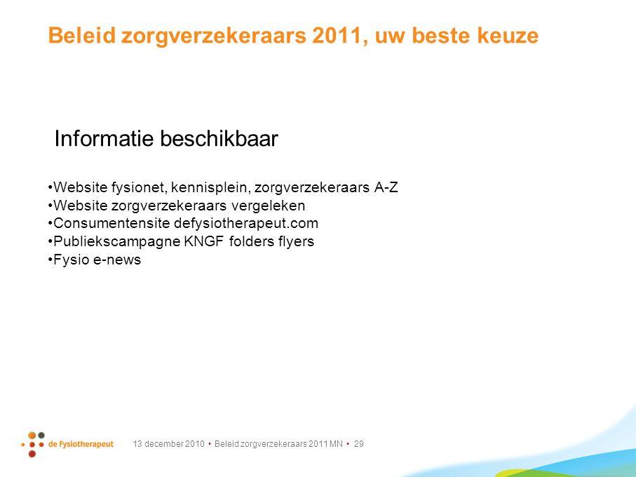 13 december 2010 Beleid zorgverzekeraars 2011 MN 29 Beleid zorgverzekeraars 2011, uw beste keuze Informatie beschikbaar Website fysionet, kennisplein,