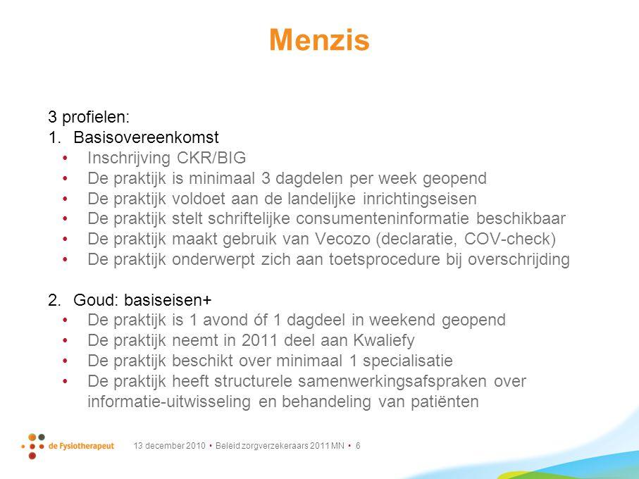 13 december 2010 Beleid zorgverzekeraars 2011 MN 6 Menzis 3 profielen: 1.Basisovereenkomst Inschrijving CKR/BIG De praktijk is minimaal 3 dagdelen per
