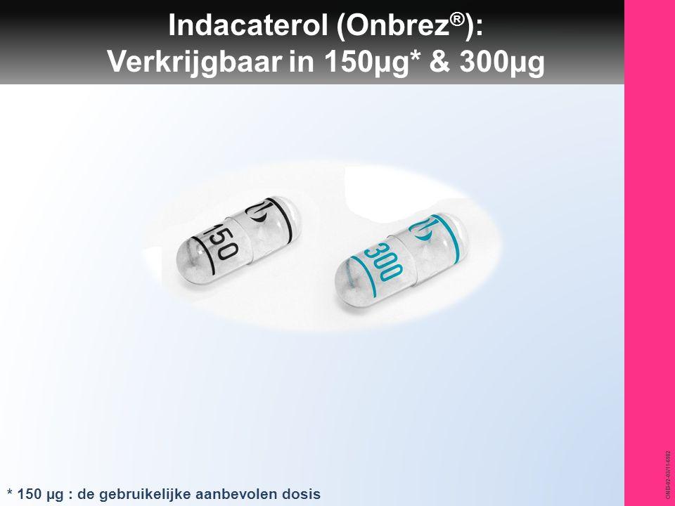 ONB-02-03/11-6982 Indacaterol (Onbrez ® ): Verkrijgbaar in 150µg* & 300µg * 150 µg : de gebruikelijke aanbevolen dosis