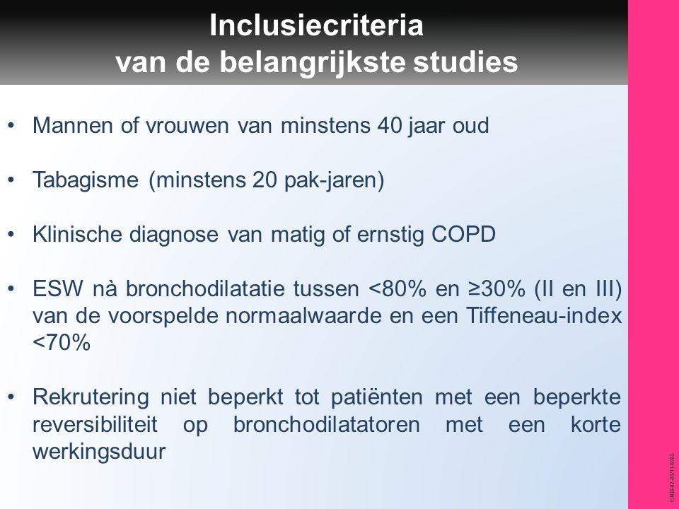ONB-02-03/11-6982 Inclusiecriteria van de belangrijkste studies Mannen of vrouwen van minstens 40 jaar oud Tabagisme (minstens 20 pak-jaren) Klinische