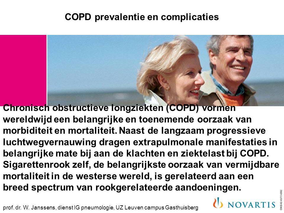 COPD prevalentie en complicaties Chronisch obstructieve longziekten (COPD) vormen wereldwijd een belangrijke en toenemende oorzaak van morbiditeit en