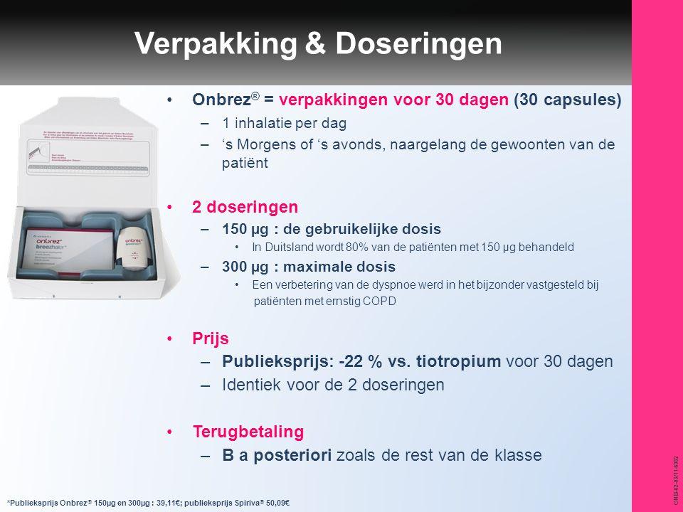 ONB-02-03/11-6982 Onbrez ® = verpakkingen voor 30 dagen (30 capsules) –1 inhalatie per dag –'s Morgens of 's avonds, naargelang de gewoonten van de pa