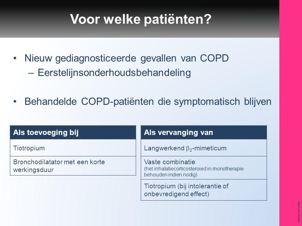 ONB-02-03/11-6982 Voor welke patiënten? Nieuw gediagnosticeerde gevallen van COPD –Eerstelijnsonderhoudsbehandeling Behandelde COPD-patiënten die symp