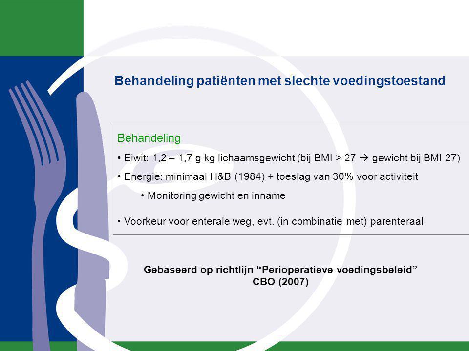 Behandeling Eiwit: 1,2 – 1,7 g kg lichaamsgewicht (bij BMI > 27  gewicht bij BMI 27) Energie: minimaal H&B (1984) + toeslag van 30% voor activiteit M