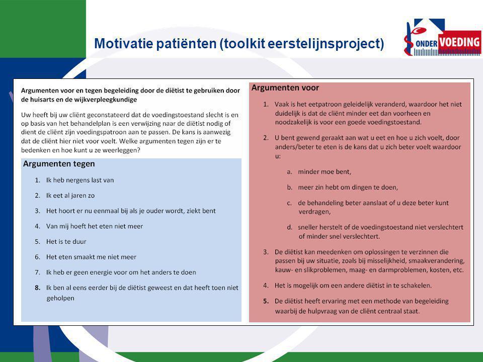 Motivatie patiënten (toolkit eerstelijnsproject)