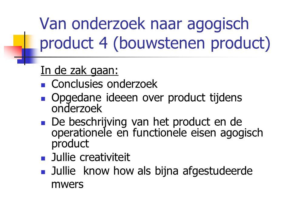 Van onderzoek naar agogisch product 4 (bouwstenen product) In de zak gaan: Conclusies onderzoek Opgedane ideeen over product tijdens onderzoek De besc