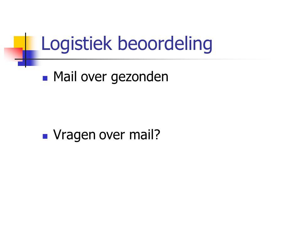Logistiek beoordeling Mail over gezonden Vragen over mail?