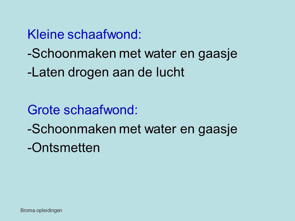 Kleine schaafwond: -Schoonmaken met water en gaasje -Laten drogen aan de lucht Grote schaafwond: -Schoonmaken met water en gaasje -Ontsmetten Broma-op