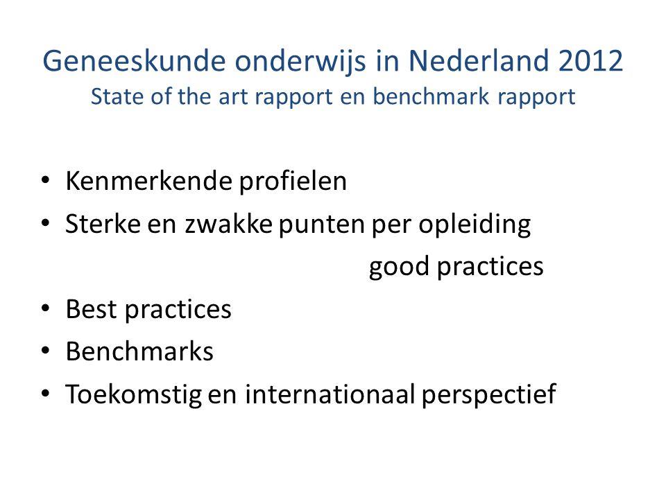 Geneeskunde onderwijs in Nederland 2012 State of the art rapport en benchmark rapport Kenmerkende profielen Sterke en zwakke punten per opleiding good