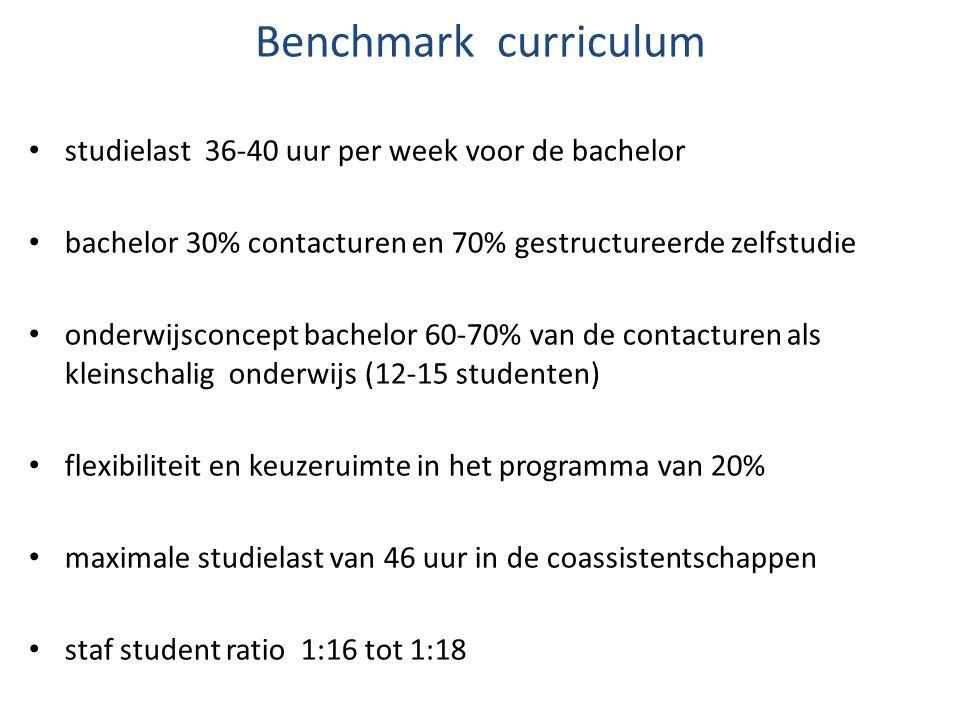 Benchmark curriculum studielast 36-40 uur per week voor de bachelor bachelor 30% contacturen en 70% gestructureerde zelfstudie onderwijsconcept bachel