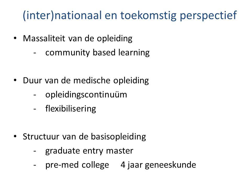 (inter)nationaal en toekomstig perspectief Massaliteit van de opleiding - community based learning Duur van de medische opleiding - opleidingscontinuü