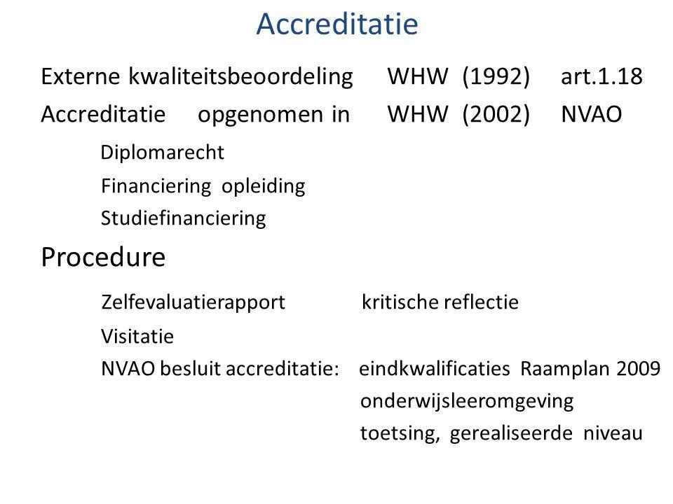Accreditatie Externe kwaliteitsbeoordeling WHW (1992) art.1.18 Accreditatie opgenomen in WHW (2002) NVAO Diplomarecht Financiering opleiding Studiefin