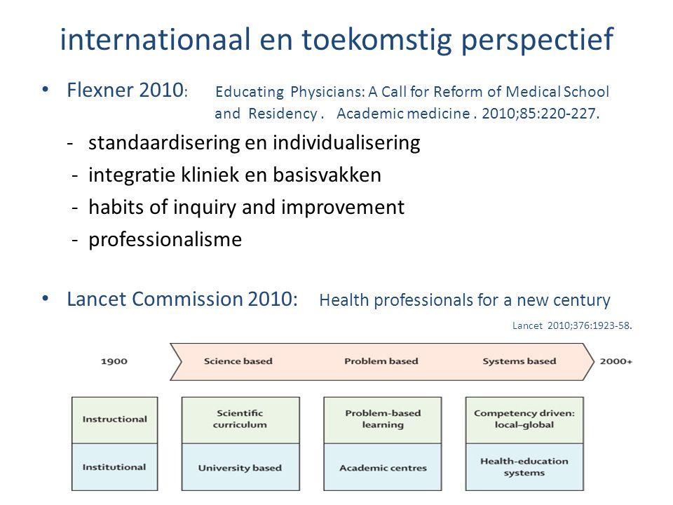 internationaal en toekomstig perspectief Flexner 2010 : Educating Physicians: A Call for Reform of Medical School and Residency. Academic medicine. 20