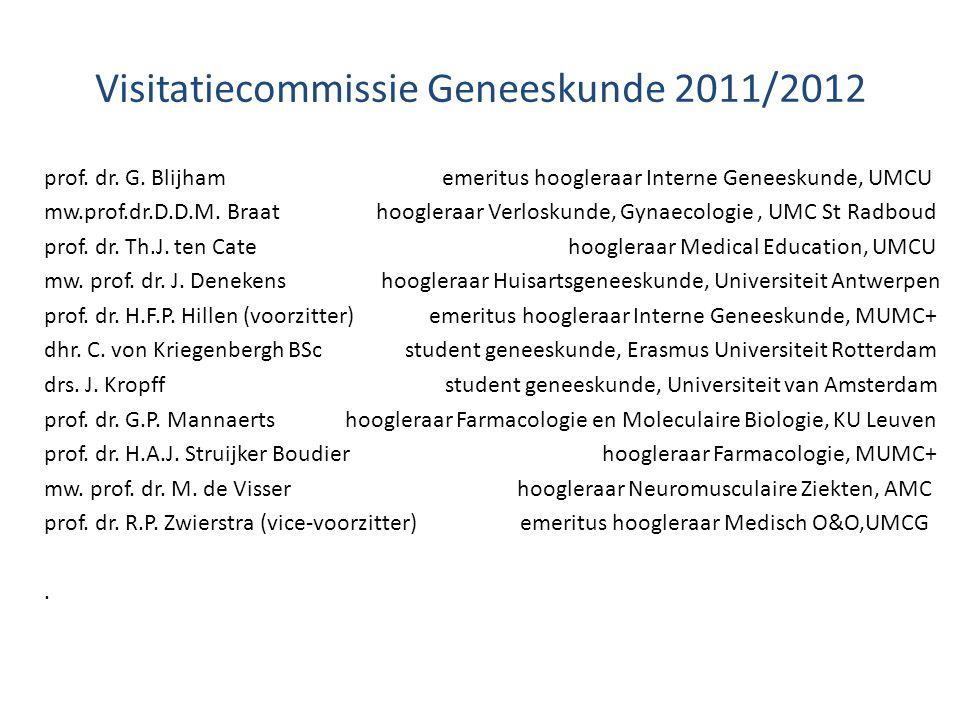 Visitatiecommissie Geneeskunde 2011/2012 prof. dr. G. Blijham emeritus hoogleraar Interne Geneeskunde, UMCU mw.prof.dr.D.D.M. Braat hoogleraar Verlosk