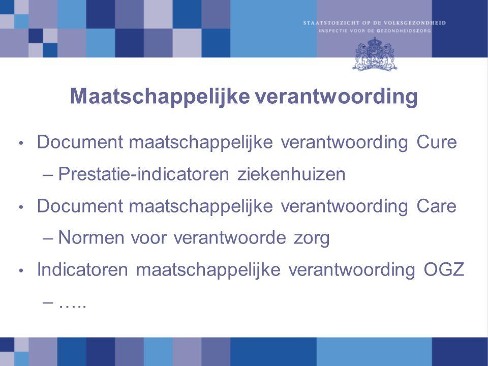Maatschappelijke verantwoording Document maatschappelijke verantwoording Cure –Prestatie-indicatoren ziekenhuizen Document maatschappelijke verantwoor