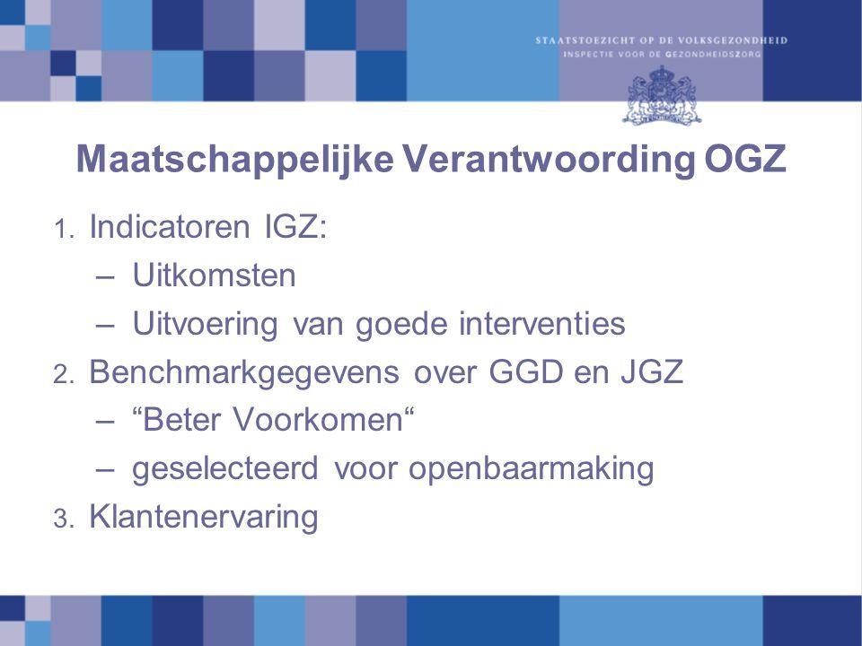 """Maatschappelijke Verantwoording OGZ 1. Indicatoren IGZ: –Uitkomsten –Uitvoering van goede interventies 2. Benchmarkgegevens over GGD en JGZ –""""Beter Vo"""