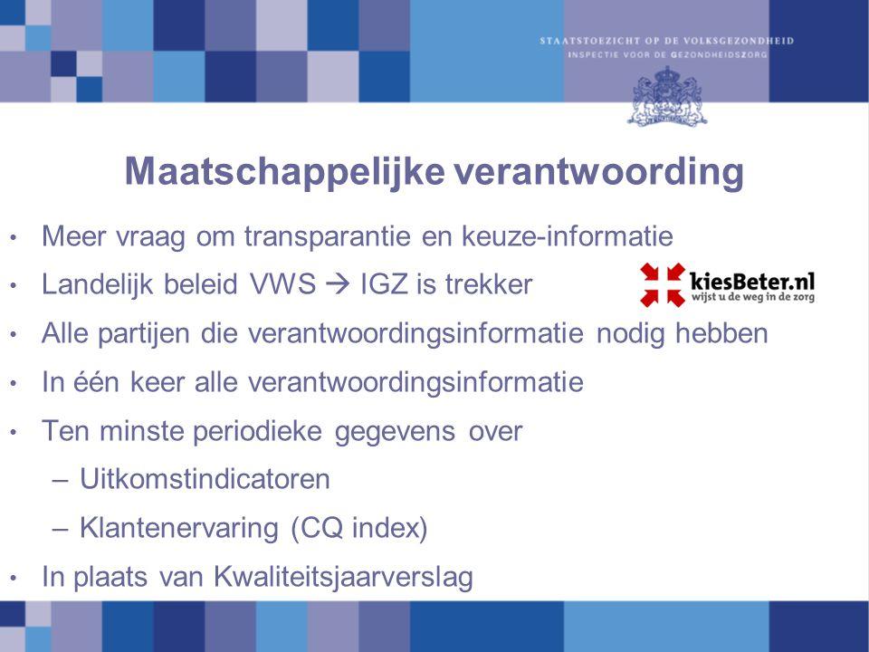 Maatschappelijke verantwoording Meer vraag om transparantie en keuze-informatie Landelijk beleid VWS  IGZ is trekker Alle partijen die verantwoording