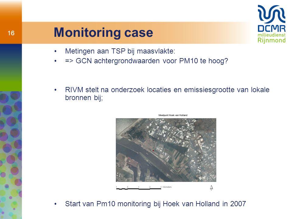 16 Monitoring case Metingen aan TSP bij maasvlakte: => GCN achtergrondwaarden voor PM10 te hoog? RIVM stelt na onderzoek locaties en emissiesgrootte v